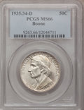 Commemorative Silver: , 1935/34-D 50C Boone MS66 PCGS. PCGS Population (161/57). NGCCensus: (116/60). Mintage: 2,003. Numismedia Wsl. Price for pr...