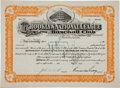 Autographs:Others, 1948 Branch Rickey Signed Brooklyn Dodgers Stock Certificate....