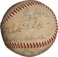 Autographs:Baseballs, 1940's Hall of Famers & Stars Multi-Signed Baseball with Cobb, DiMaggio....