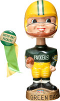 Football Collectibles:Others, 1960's Green Bay Packers Gold Base Nodder and Vintage Pinback Button. ...