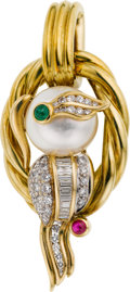 Estate Jewelry:Brooches - Pins, South Sea Cultured Pearl, Diamond, Emerald, Ruby, Gold Pendant-Brooch. ...