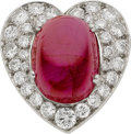 Estate Jewelry:Rings, Ruby, Diamond, Platinum Heart Ring. ...