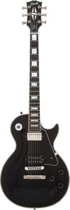 Musical Instruments:Electric Guitars, 2001 Gibson Les Paul Custom Black Solid Body Electric Guitar,#02261468....