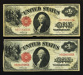 Fr. 37 $1 1917 Legal Tender Notes. Two Examples. Very Fine