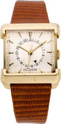 Timepieces:Wristwatch, LeCoultre Unusual Gold Button Set Date Wristwatch, circa 1950. ...