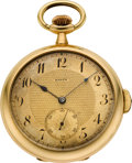 Timepieces:Pocket (post 1900), Barth (Swiss) 18k Gold Quarter Hour Repeater. ...