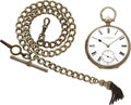 Timepieces:Pocket (pre 1900) , E.L. Moore London Sterling Fusee With Chain. ...