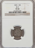 Bust Dimes, 1835 10C VF20 NGC. JR-3. NGC Census: (4/427). PCGS Population(15/462). Mintage: 1,410,000. Numismedia Wsl. Price for probl...