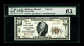 National Bank Notes:Missouri, Wellston, MO - $10 1929 Ty. 1 The First NB Ch. # 8011. Thisembossed $10 is from a small run of cut-up uncirculated shee...