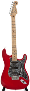 Musical Instruments:Electric Guitars, 1994 Fender Stratocaster Red Solid Body Electric Guitar,SerialNumber #N4171405....