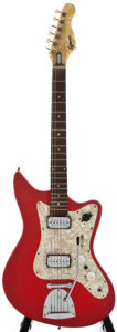 Musical Instruments:Electric Guitars, 1960's Egmond Off Set Red Solid Body Electric Guitar, Serial Number#2359096....