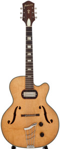 Musical Instruments:Electric Guitars, 1950's Harmony H65 Natural Archtop Electric Guitar....