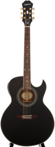 Musical Instruments:Acoustic Guitars, Epiphone PR-5E Black Acoustic Electric Guitar, Serial Number #SM05011003....