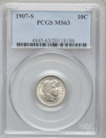 Barber Dimes: , 1907-S 10C MS63 PCGS. PCGS Population (21/28). NGC Census: (14/21).Mintage: 3,178,470. Numismedia Wsl. Price for problem f...