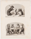Antiques:Posters & Prints, Lot of 3 Steel Engravings Comical Animal Art Displayed at the Great Exhibition of 1851. From Tallis's History and Descript...