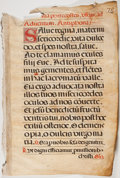 Antiques:Posters & Prints, Antiphonal Manuscript Leaf on Vellum. [Possibly French, ca. 16thcentury]. Large leaf from missal or antiphoner containing...