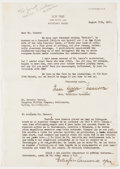 Books:Signed Editions, Grace Hegger Casanova [First Wife of Sinclair Lewis]. Typed Letter Signed and on Los Tres Letterhead. Single...