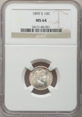 Barber Dimes, 1899-S 10C MS64 NGC....