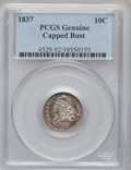 Bust Dimes, 1837 10C Capped Bust Proof PCGS Genuine. The PCGS number ending in.92 suggests cleaned as the reason, or perhaps one of th...