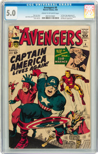 The Avengers #4 (Marvel, 1964) CGC VG/FN 5.0 Cream to off-white pages