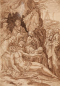 Fine Art - Work on Paper:Drawing, NORTHERN ITALIAN SCHOOL (Late 16th Century) . TheLamentation, 1596. Pen and brown ink on paper. 14-3/4 x 10-3/8inches ...