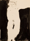 Fine Art - Work on Paper:Drawing, BRUCE CONNER (American, 1933-2008). Figure. Pen, brush andink on artists' board. 9-1/2 x 7 inches (24.1 x 17.8 cm). Sig...
