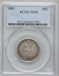 Seated Quarters, 1881 25C VF20 PCGS. PCGS Population (3/110). NGC Census: (2/89).Mintage: 12,000. Numismedia Wsl. Price for problem free NG...