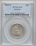 Seated Quarters, 1855-S 25C Arrows Fine 15 PCGS. PCGS Population (5/37). NGC Census:(0/20). Mintage: 396,400. Numismedia Wsl. Price for pro...
