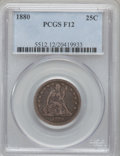 Seated Quarters, 1880 25C Fine 12 PCGS. PCGS Population (2/196). NGC Census:(0/117). Mintage: 13,600. Numismedia Wsl. Price for problem fre...