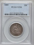 Seated Quarters, 1885 25C VF30 PCGS. PCGS Population (4/112). NGC Census: (2/78).Mintage: 13,600. Numismedia Wsl. Price for problem free NG...