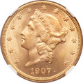 Liberty Double Eagles, 1907-D $20 MS64+ NGC....