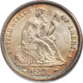 Seated Dimes, 1874 10C Arrows MS65 PCGS. CAC....