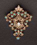 Estate Jewelry:Brooches - Pins, Estate Diamond & Opal Gold Pin. ...