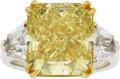 Estate Jewelry:Rings, Fancy Intense Yellow Diamond, Diamond, Platinum, Gold Ring,Underwood's. ...