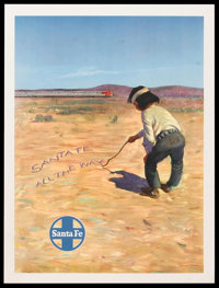 "Santa Fe Railroad Poster (Early 1950s). Advertising Poster (18"" X 24"") ""Santa Fe All the Way."" Misce..."