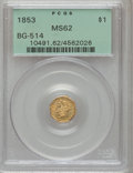 California Fractional Gold, 1853 $1 Liberty Octagonal 1 Dollar, BG-514, High R.5, MS62 PCGS....