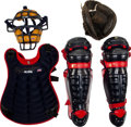 Baseball Collectibles:Uniforms, 1993-94 Javy Lopez Game Worn Catcher's Gear with Mitt....