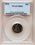 Proof Seated Dimes: , 1876 10C PR65 PCGS. PCGS Population (16/6). NGC Census: (18/8).Mintage: 1,150. Numismedia Wsl. Price for problem free NGC/...
