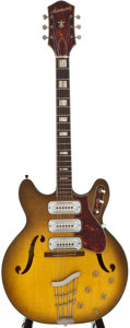 Musical Instruments:Electric Guitars, 1960's Harmony H75 Sunburst Semi-Hollow Body Electric Guitar,Serial Number #1143....