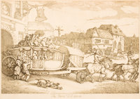 After THOMAS ROWLANDSON (British, 1756-1827) The Paris Diligence Etching 9-1/2 x 14 inches (24.1