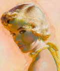Pin-up and Glamour Art, EDWIN GEORGI (American, 1896-1964). Portrait of a BlondeBeauty, circa 1955. Mixed media on board. 11 x 9.5 in.. Notsig...