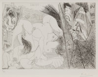 PABLO PICASSO (Spanish, 1881-1973) Raphaël et la fornarina IV (from Series 347), 1968 Etching 9-1