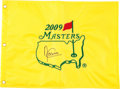 Golf Collectibles:Autographs, Angel Cabrera Signed 2009 Masters Flag....