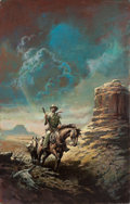 Pulp, Pulp-like, Digests, and Paperback Art, AMERICAN ARTIST (20th Century). Cowboy in the Valley, paperbackcover. Oil on board. 28 x 18 in.. Not signed. ...