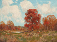 JULIAN ONDERDONK (American, 1882-1922) Fall Landscape Oil on board 9 x 12 inches (22.9 x 30.5 cm)
