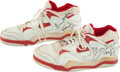 Basketball Collectibles:Others, Early 1990's Moses Malone Game Worn, Signed Shoes....