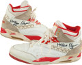 Basketball Collectibles:Others, Circa 1990's Hakeem Olajuwon Game Worn, Signed Shoes....