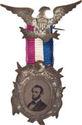 Political:Ferrotypes / Photo Badges (pre-1896), Abraham Lincoln: Ornate 1864 Campaign Badge....