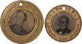 Political:Ferrotypes / Photo Badges (pre-1896), John C. Breckinridge and John Bell: Pair of Ferrotypes.... (Total:2 Items)