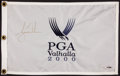 "Golf Collectibles:Autographs, Tiger Woods Signed ""Upper Deck Authenticated"" Flag...."